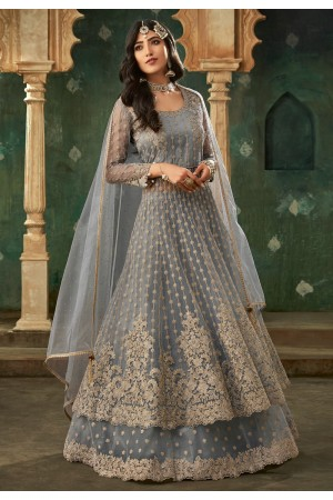 Gray net embroidered long choli lehenga 78003