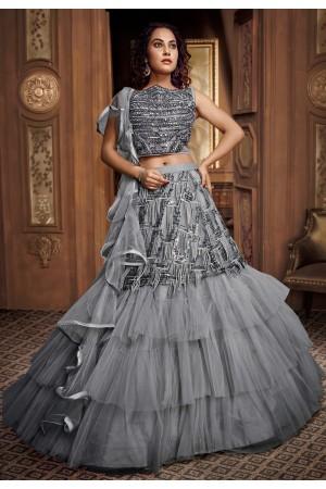 Gray net frilled designer lehenga choli 065