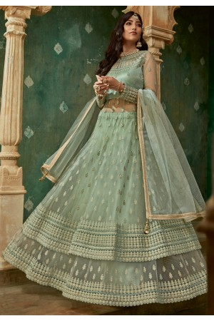 Light green net embroidered long choli lehenga 78005