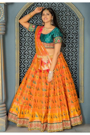 Orange banarasi circular lehenga choli 11213