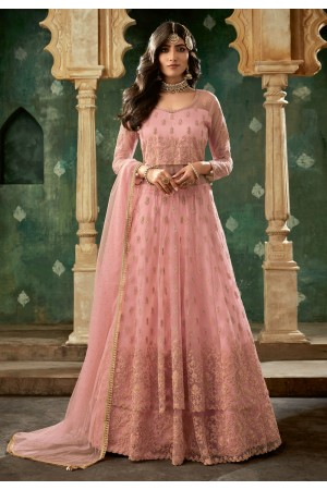 Pink net embroidered indo western lehenga choli 78002