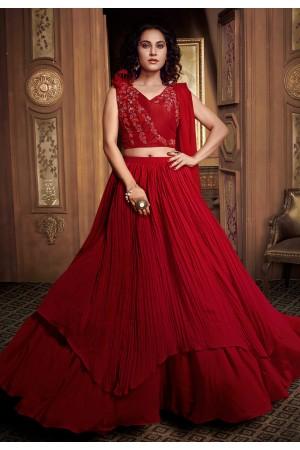 Red satin double layered designer lehenga choli 062