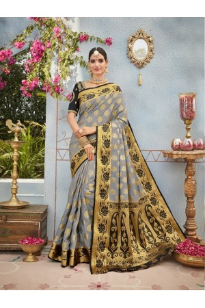 Grey and black banarasi silk wedding saree