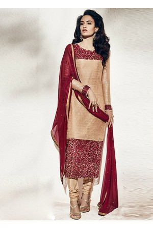Cream and red color georgette party wear straight cut salwar kameez