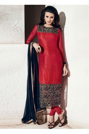 Red and black color georgette party wear straight cut salwar kameez