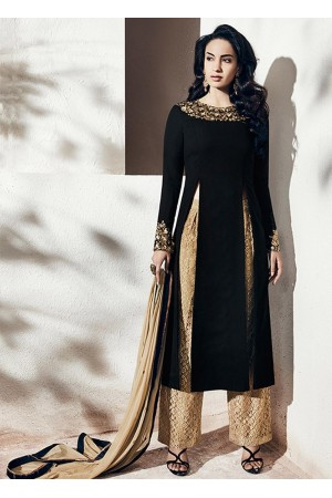 Black color georgette party wear straight cut salwar kameez