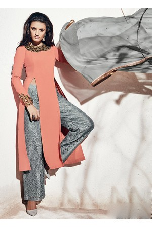 Peach and grey color georgette party wear straight cut salwar kameez