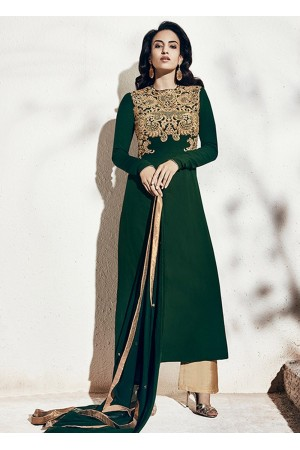 Bottle green color georgette party wear straight cut salwar kameez