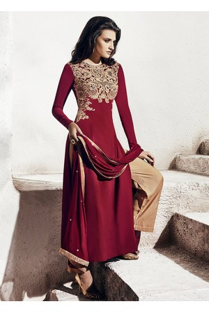 maroon and beige color georgette party wear straight cut salwar kameez