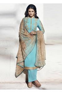 Sea blue color georgette party wear straight cut salwar kameez