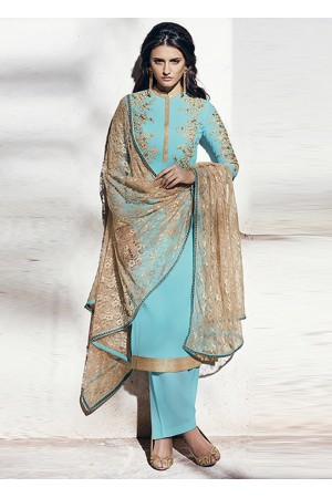 Sea blue color georgette party wear straight cut salwar kameez