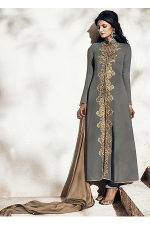 Grey colour party wear straight cut salwar kameez