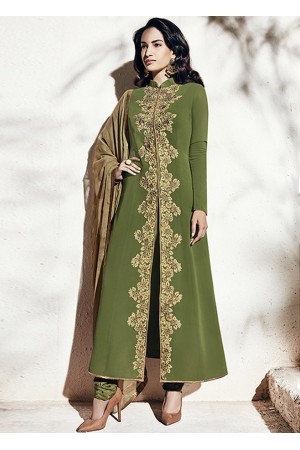 Olive green color georgette party wear straight cut salwar kameez