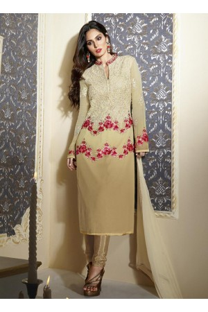 Beige colour georgette party wear straight cut salwar kameez