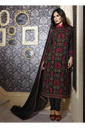 Black colour georgette party wear straight cut salwar kameez