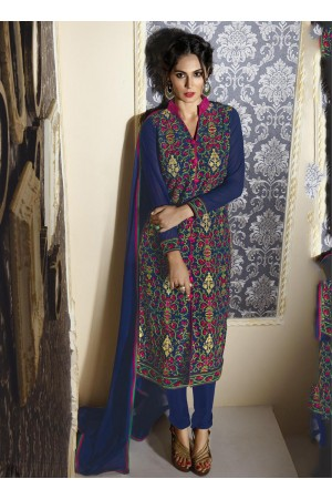 Blue color georegette party wear straight cut salwar kameez
