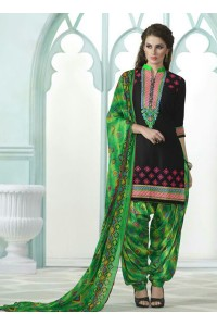 Black and green color embroidered patiala casual wear salwar kameez