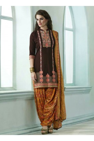 Brown color embroidered patiala casual wear salwar kameez