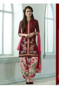 Maroon color embroidered patiala casual wear salwar kameez