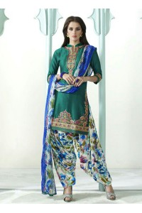 Firozi color embroidered patiala casual wear salwar kameez