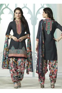 Grey color embroidered patiala casual wear salwar kameez