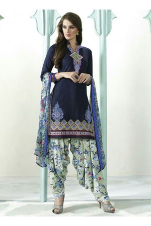 Grey and white color embroidered patiala casual wear salwar kameez