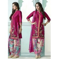 Dark pink color embroidered patiala casual wear salwar kameez