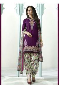 Violet color embroidered patiala casual wear salwar kameez