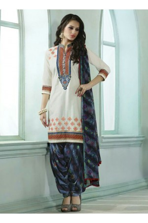 White color embroidered patiala casual wear salwar kameez