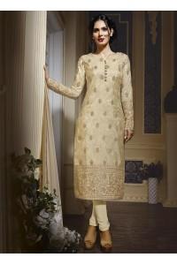 Cream colour georgette party wear straight cut salwar kameez