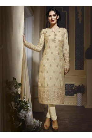 Cream colour georgette party wear straight cut salwar kameez
