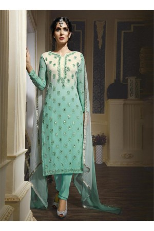 Firozi colour georgette party wear straight cut salwar kameez