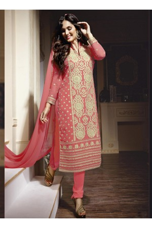 Gajri colour georgette party wear straight cut salwar kameez