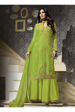 Green colour silk georgette party wear palazzo salwar kameez