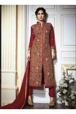 Maroon colour georgette party wear straight cut salwar kameez