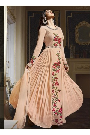 Peach colour georgette party wear anarkali salwar kameez