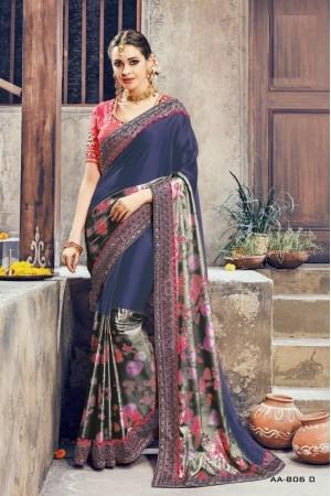 Navy blue and pink crepe satin wedding wear saree