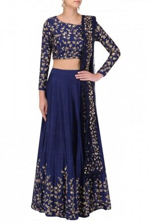 Inspired Blue banglori silk wedding lehenga