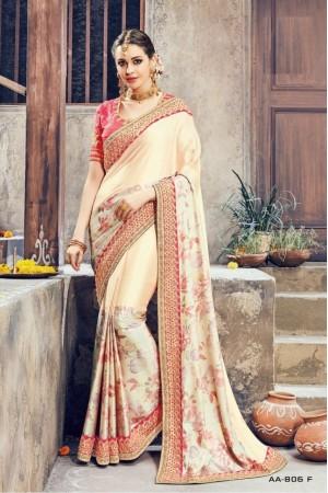 Cream and pink crepe satin wedding wear saree