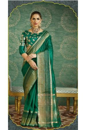 Dark green handloom weaving silk saree