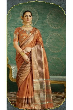 Dusty brown color handloom weaving silk saree