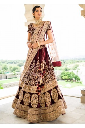 Inspired Maroon velvet base heavy dori work wedding lehenga