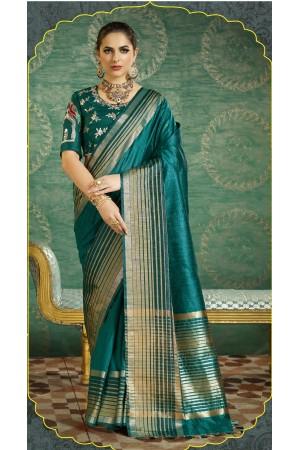 Bottle green handloom weaving silk double blouse saree