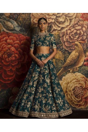 Sabyasachi Inspired Rama Green Banglori silk wedding lehenga
