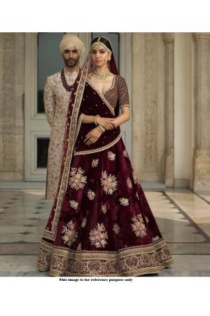 Sabyasachi inspired Maroon color velvet wedding lehenga