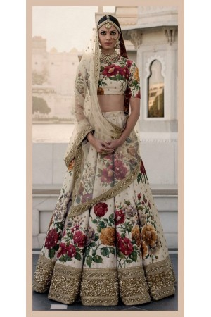 Bollywood Sabyasachi Inspired Ivory art silk bridal lehenga