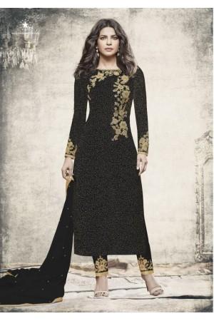 Priyanka chopra Black color straight cut salwar kameez