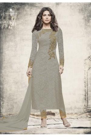 Priyanka chopra Grey color straight cut salwar kameez