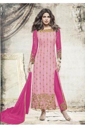 Priyanka chopra Pink color straight cut salwar kameez