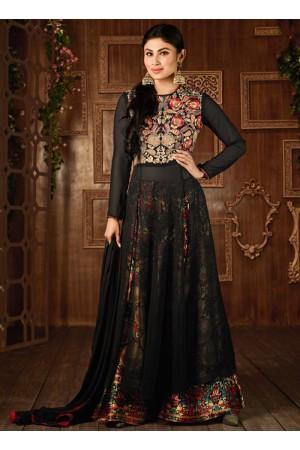 Mouni Roy Black color georgette party wear anarkali suit-2